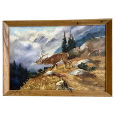 1949 Elk Bugling Call in Mountainous Landscape Oil Painting Signed By German Artist