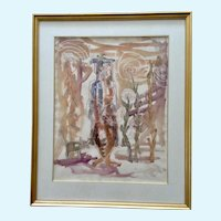 Dave Jones, 1951 Figural and Cat Mixed Media Watercolor Painting