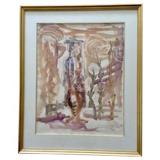 Dave Jones, 1951 Figural Person and Cat in Flower Garden Mixed Media Watercolor Painting Model Art From Merrill Chase Gallery Signed by Artist