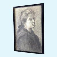 European Portrait of a Young Woman Original Graphite Sketch
