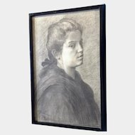 European Portrait of a Young Woman Original Works on Paper Graphite Sketch Signed by Artist