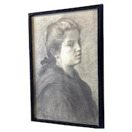 European Graphite Portrait of a Young Woman Original Works on Paper Signed by Artist