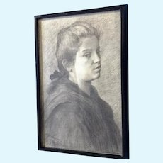 European Portrait of a Young Woman Original Graphite Sketch