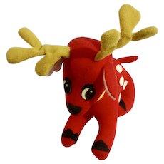Vintage Fun World Christmas Reindeer Stuffed Plush Animal Made in Taiwan 1980's Toy 7045