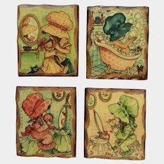 Vintage Holly Hobbie Wall Plaques Cute Little Bonnet Girls Getting Ready