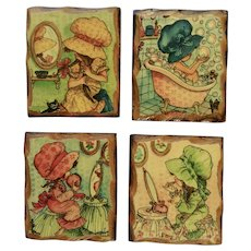 Vintage Holly Hobbie Wall Plaques Cute Little Bonnet Girls Getting Ready