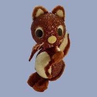 Humorous Squirrel Pipe Cleaner Candy Box Mid-Century Adorable Styrofoam Glitter Retro Figurine