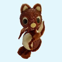 Humorous Squirrel Pipe Cleaner Candy Box Mid-Century Adorable Styrofoam Glitter Retro Figurine