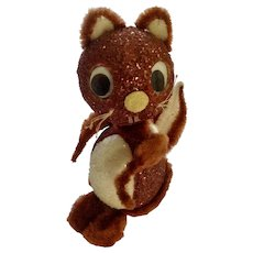 Squirrel Pipe Cleaner Candy Box Mid-Century Adorable Styrofoam Glitter Retro Figurine