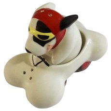 Ceramic Dog Bone Racing Car Salt and Pepper Shaker Ceramic S&P Figurines
