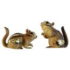 Vintage Very Rare Josef Originals Chipmunk Squirrels Ceramic Animal Figurines