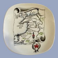 Gray's Pottery Stoke-On-Trent England Nut, Candy Dish Map of Wales