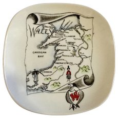 Gray's Pottery Stoke-On-Trent England Nut or Candy Dish Plate Map of Wales N6 Maker's Mark