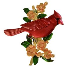 Red Cardinal Bird on Pink Flower Branch Vintage JJ Jonette Jewelry Co. Brooch Pin