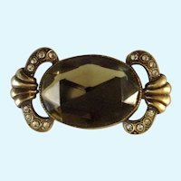 Taupe Colored and Crystal Rhinestones on Gold-Tone Setting Brooch Pin