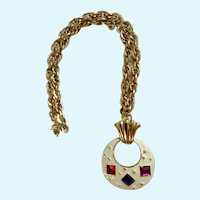White Jeweled Crescent Pendant on Gold-Tone Chain Necklace Costume Jewelry