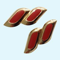 Candy Apple Red and Gold-Tone Stripe Stud Post Earrings Costume Jewelry
