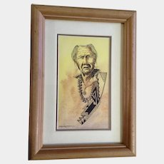 Douglas Yazzie, Navajo Indian Man Watercolor & Ink Painting Signed by Arizona Artist