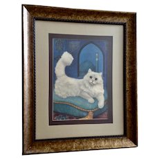 1965 Persian White Kitty Cat Lithograph Print in Frame by Girard Goodenow