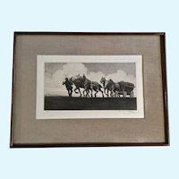 Ferdinand Kozow Farmer Artist Proof Etching on Rag Paper 1916-1917