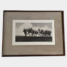 Ferdinand Kozow Farmer with Horses in a Field Artist Proof Etching on Rag Paper Around 1916-1917 Signed in Margin by Listed Artist