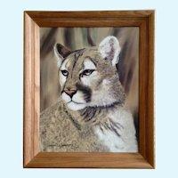 Dennis Simpson, Cougar Mountain Lion Portrait Original Oil Painting