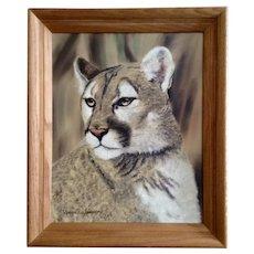 Dennis Simpson, Cougar Mountain Lion Wild Cat Portrait Original Oil Painting Signed by Artist