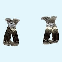 Silver-Tone Metal Textured Ribbon Bows Stud Post Earrings For Pierced Ears