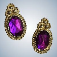 Gorgeous Purple Rhinestone and Gold-Tone Stud Post Earrings for Pierced Ears