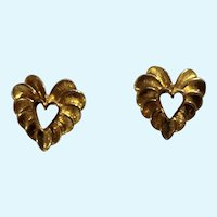 Lovely Gold-Tone Heart Stud Post Earrings