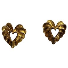 Lovely Gold-Tone Heart Stud Post Earrings