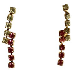 Stud Post Earrings Pierced Ears Small Dainty Faux Diamond and Pink Rhinestones