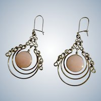 Beautiful Round Pink Glass Stones Dangle in Silver-Tone Loop Earrings for Pierced Ears
