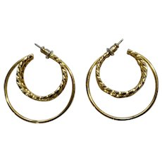 Gold-Tone Wire Loops on Stud Post Earrings for Pierced Ears