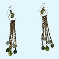 Dangling Gold-Tone Chains with Green Beads Hang from Fishhook Style Earrings for Pierced Ears