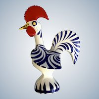 Vintage Rooster of Barcelos Portugal Hand Painted Ceramic Good Luck and Happiness Animal Blue and White Figurine 1979