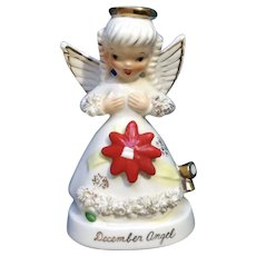 Vintage Napco Spaghetti December Angel Girl with Red Poinsettia Flower #A1372 Christmas