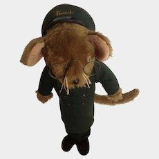 Vintage Harrod's Department Store Doorman Mouse Door Stop Jane's Originals 1950's England Stuffed Animal