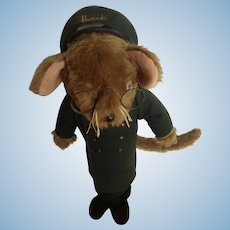 Vintage Harrod's Department Store Doorman Mouse Door Stop Jane's Originals 1950's England Stuffed Animal