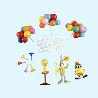 Vintage Cake Toppers Cupcake Picks Tweety, Bugs, Balloons, Happy Birthday Candle Holders