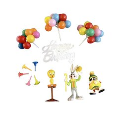 Vintage Cake Toppers Tweety, Bugs, Marvin Balloons, Happy Birthday Candle Holders Looney Tunes Warner Brothers Group