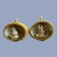 Hand Decorated Yellow Easter Egg Dioramas Cute Ducks Folk Art Ornaments