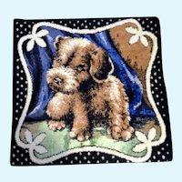Terrier Puppy Dog Pillow Cover Vintage Tapestry Velvet