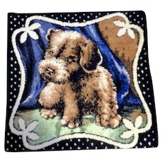 Vintage Pillow Cover Tapestry Velvet Terrier Puppy Dog