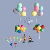 Vintage Cake Toppers Cupcake Picks Balloons, Happy Birthday, Hula Dancers, Candle Holders