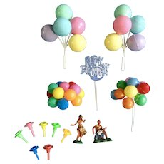 Vintage Cake Toppers with Balloons, Happy Birthday, Hula Dancers and 7 Candle Holders Group