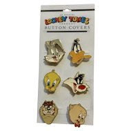 1993 Looney Tunes 6 Button Covers Bugs, Tweety, Sylvester, Porky, Taz and Daffy Cartoon Characters
