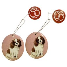 Retired 2 Department 56 Enesco Go Dog Cavalier Porcelain Christmas Ornaments # 4039528