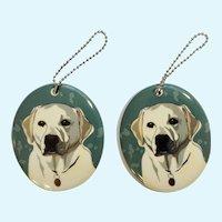 2 Department 56 Enesco Go Dog White Labrador Retriever Porcelain Christmas Ornaments