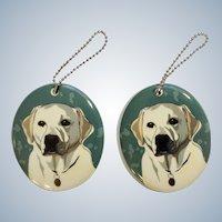 Retired 2 Department 56 Enesco Go Dog White Labrador Retriever Porcelain Christmas Lab Ornaments # 4039522